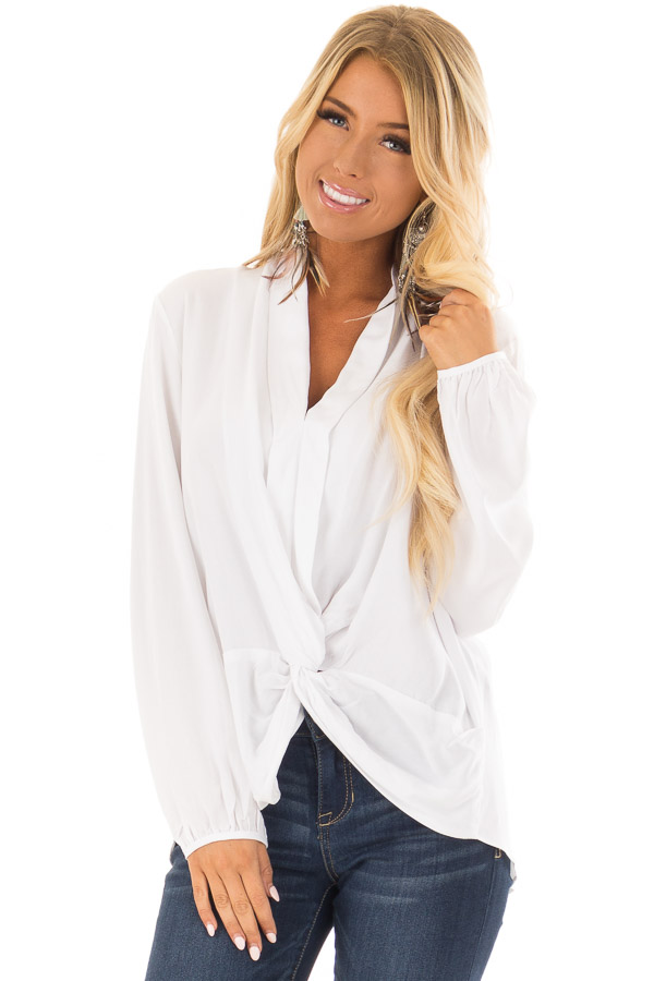 28f2357764f15 Off White Long Sleeve Top with Twisted Front Detail - Lime Lush Boutique