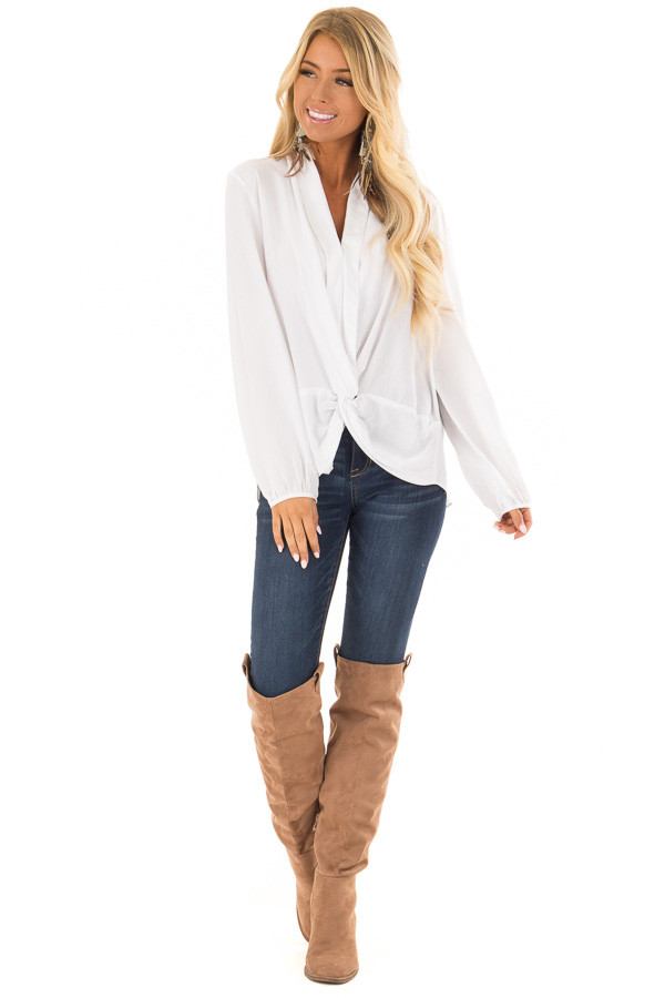 be4fe9c956d37 ... Off White Long Sleeve Top with Twisted Front Detail front full body ...