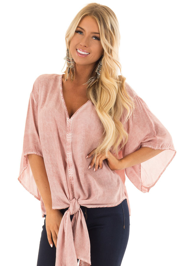 Dusty Rose Mineral Wash Short Sleeve Top with Front Tie front close up