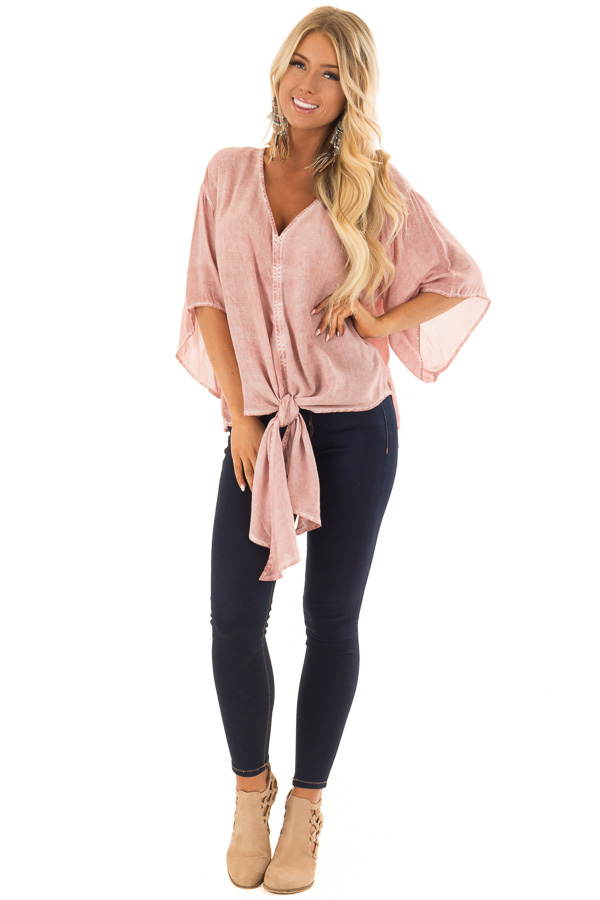 Dusty Rose Mineral Wash Short Sleeve Top with Front Tie front full body