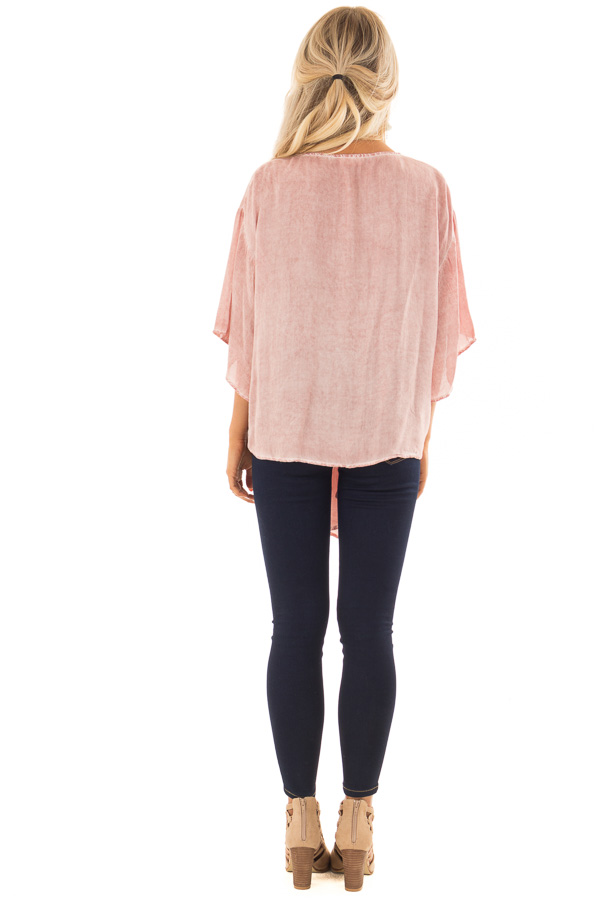Dusty Rose Mineral Wash Short Sleeve Top with Front Tie back full body