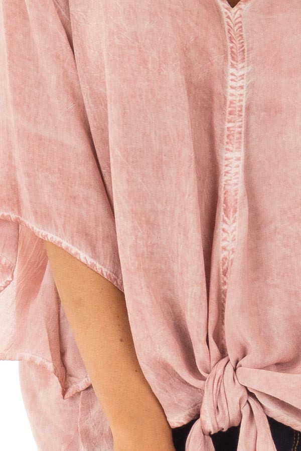 Dusty Rose Mineral Wash Short Sleeve Top with Front Tie detail