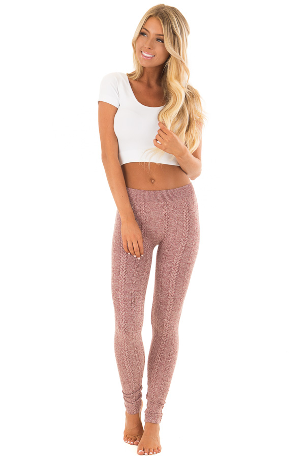 Heathered Burgundy Braided Knit Comfy Leggings front full body