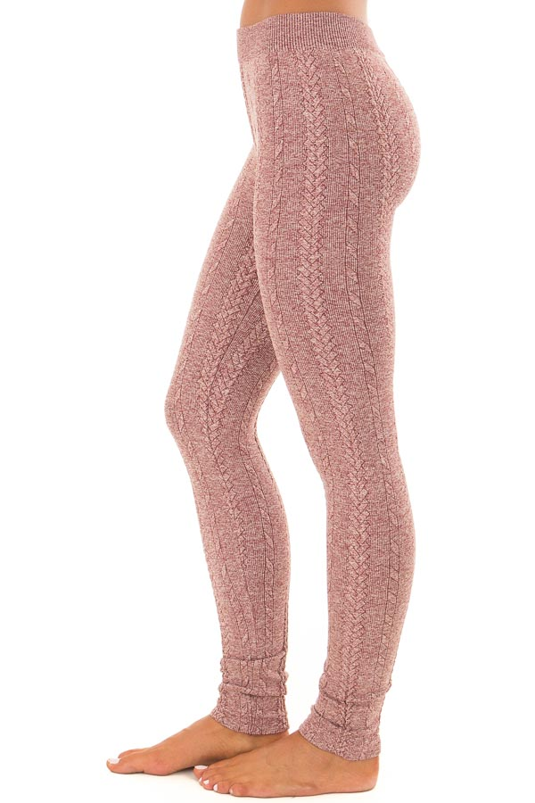 Heathered Burgundy Braided Knit Comfy Leggings side view