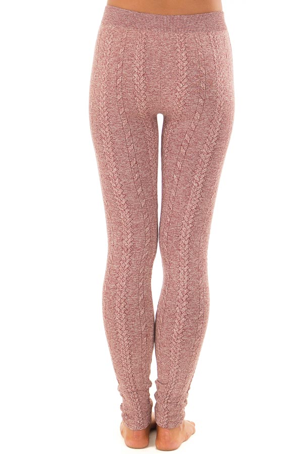 Heathered Burgundy Braided Knit Comfy Leggings back view