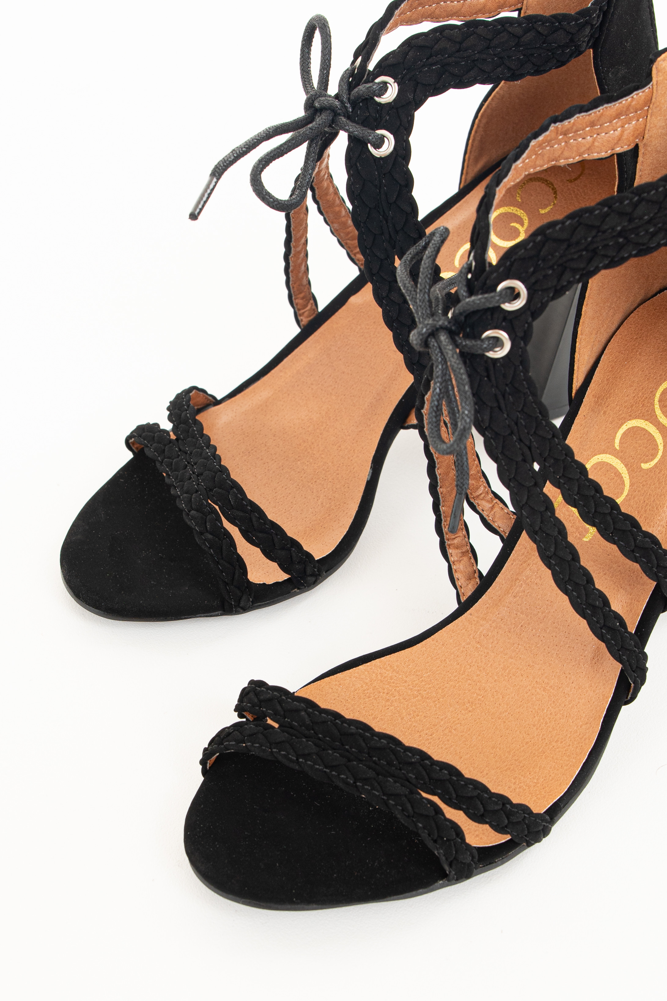 Ink Black Faux Leather High Heels with Braided Detail