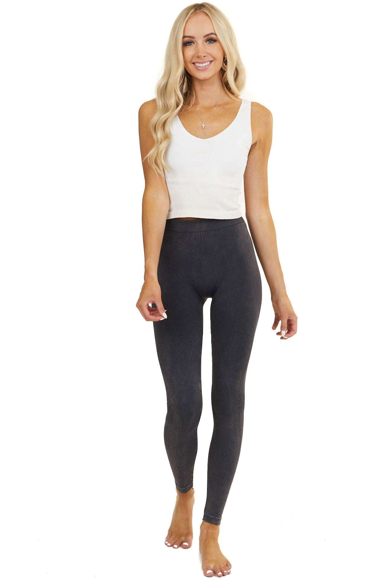 Vintage Charcoal Leggings with Checkered Knee Detail
