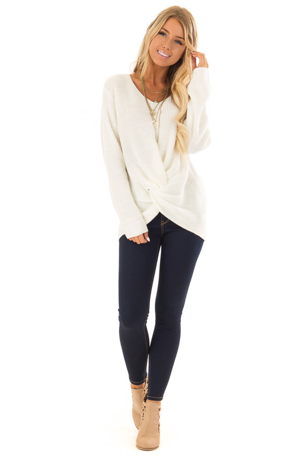 92e35578dc9a2 ... close up · Ivory Long Sleeve Knit Sweater with Front Knot front full  body ...
