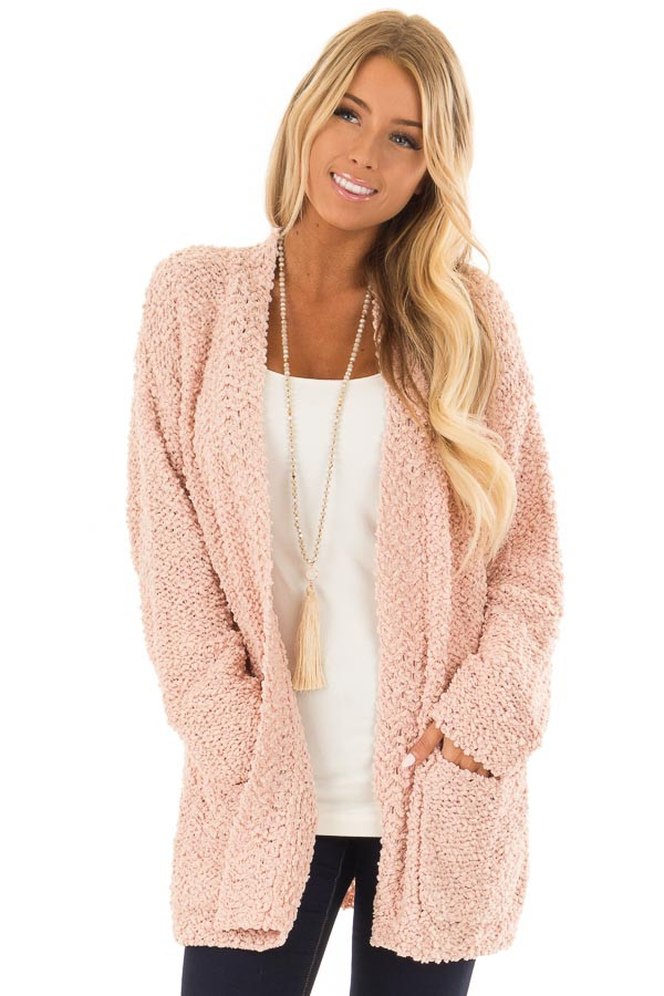 14fc045ee5 Dusty Pink Long Sleeve Open Front Cardigan with Pockets - Lime Lush ...