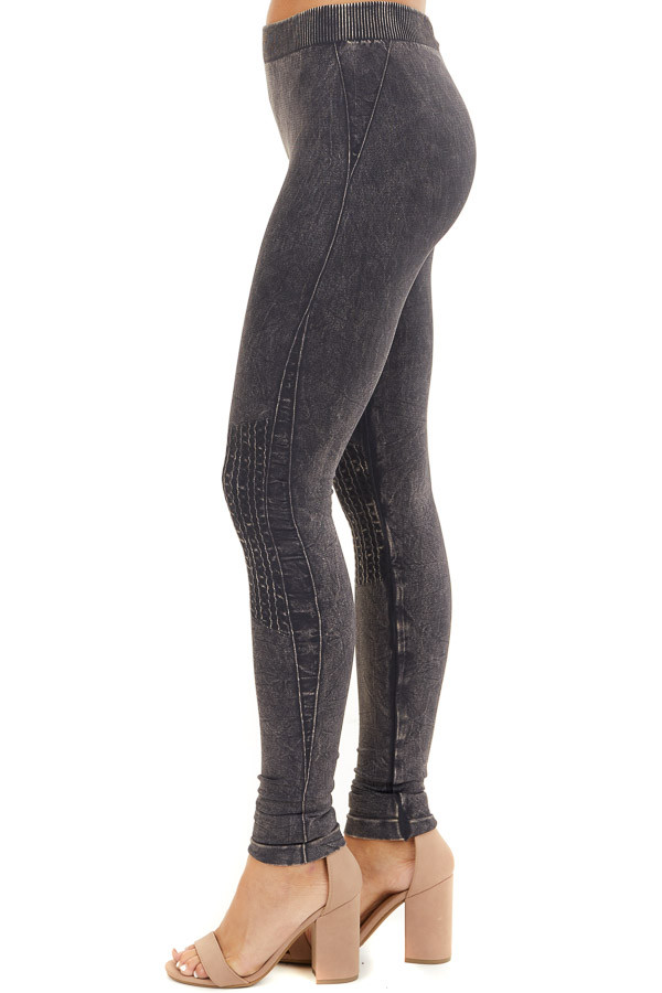Vintage Charcoal Leggings with Textured Knee Detail side view
