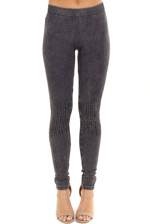 Vintage Charcoal Leggings with Textured Knee Detail front view