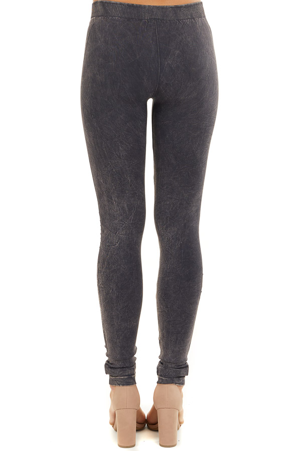 Vintage Charcoal Leggings with Textured Knee Detail back view