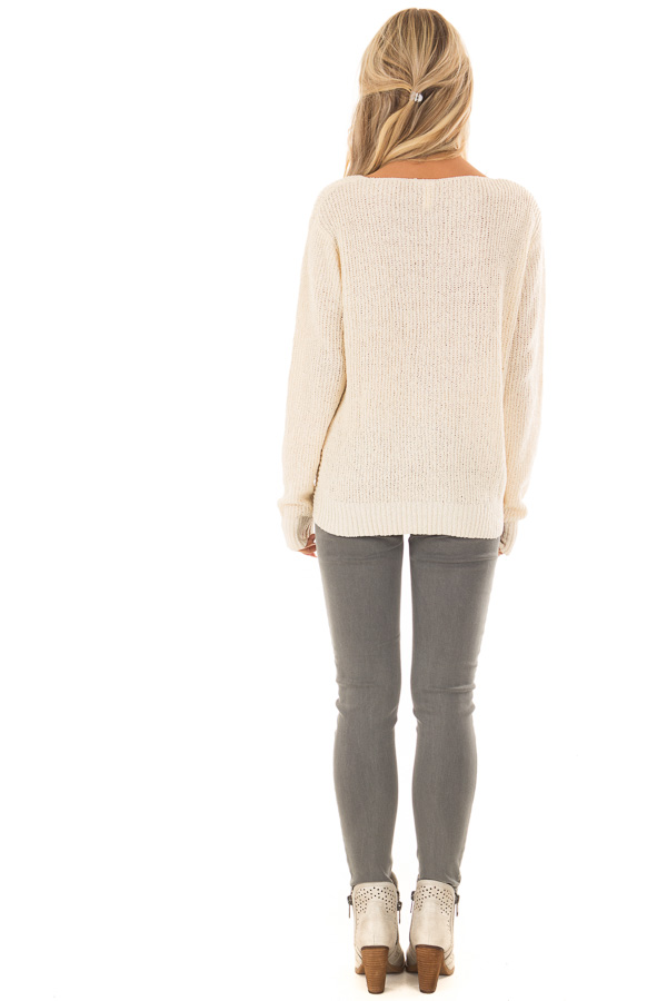 Cream Twisted Knot Long Sleeve Knit Sweater back full body