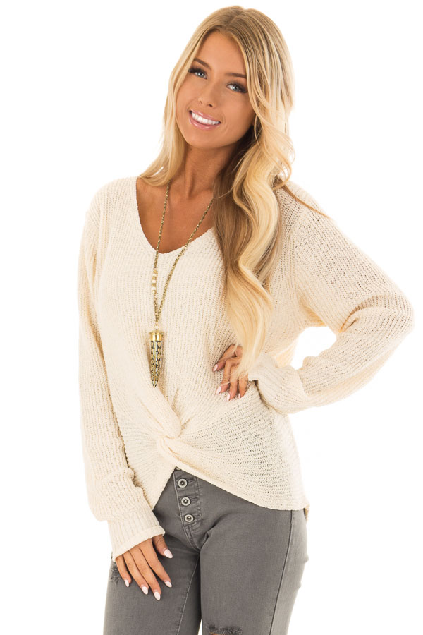 Cream Twisted Knot Long Sleeve Knit Sweater front close up