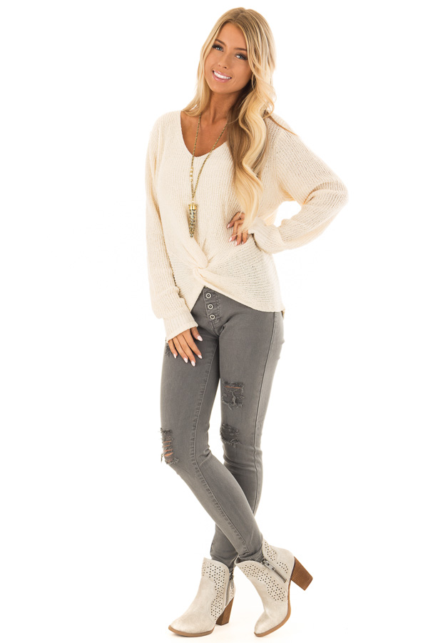 Cream Twisted Knot Long Sleeve Knit Sweater front full body