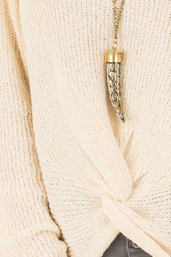 Cream Twisted Knot Long Sleeve Knit Sweater detail
