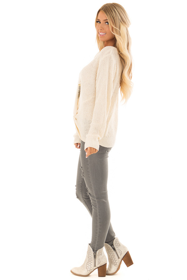 Cream Twisted Knot Long Sleeve Knit Sweater side full body