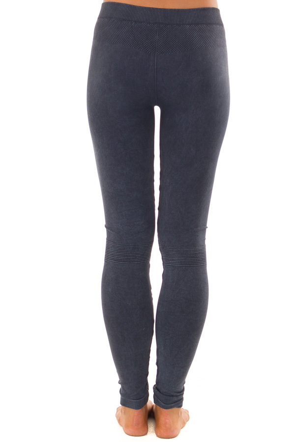 Vintage Denim Blue Leggings with Checkered Knee Detail back view