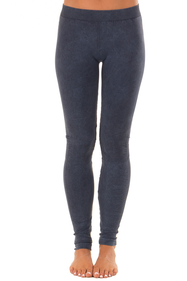 Vintage Denim Blue Leggings with Checkered Knee Detail front view
