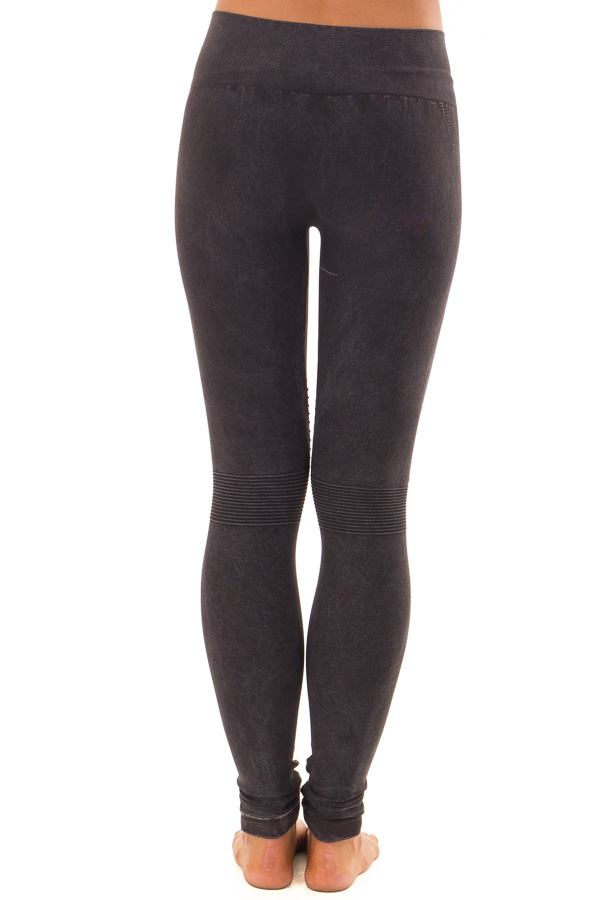Comfy Vintage Black Moto Leggings with Stitched Detail back view