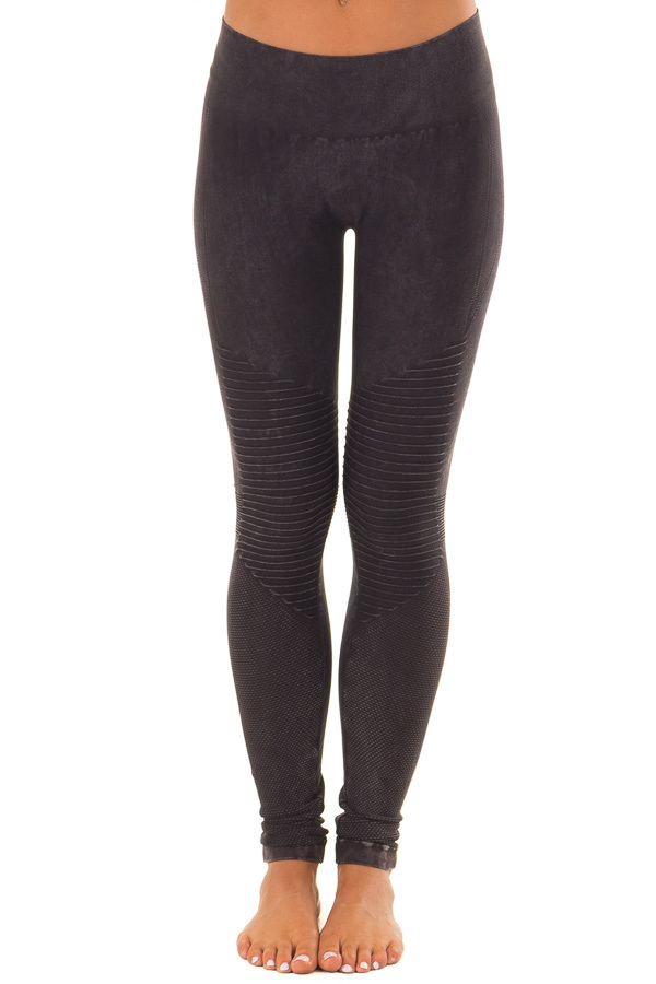 Comfy Vintage Black Moto Leggings with Stitched Detail front view