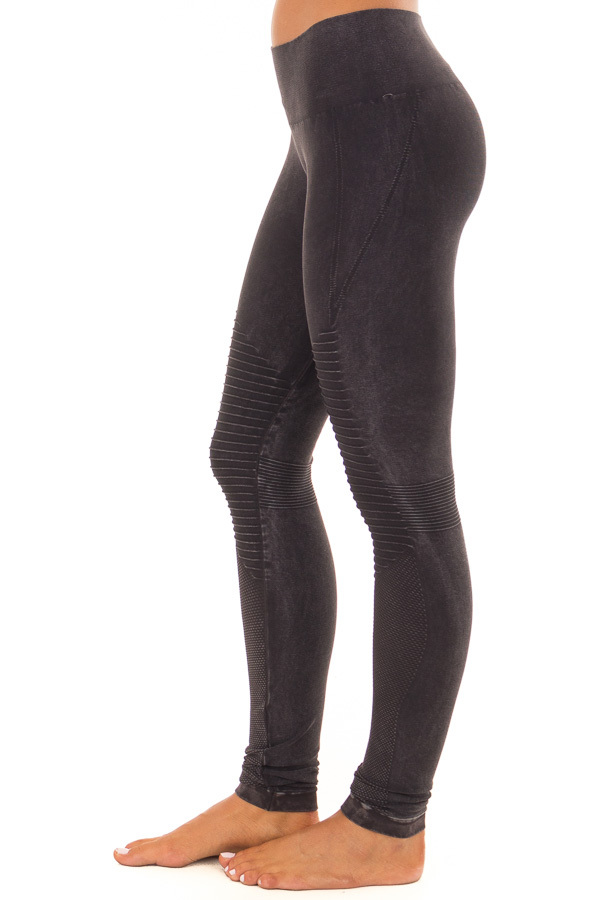 Comfy Vintage Black Moto Leggings with Stitched Detail side view