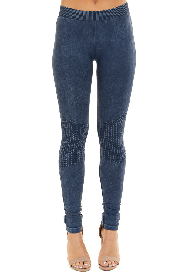 Vintage Denim Leggings with Textured Knee Detail front view