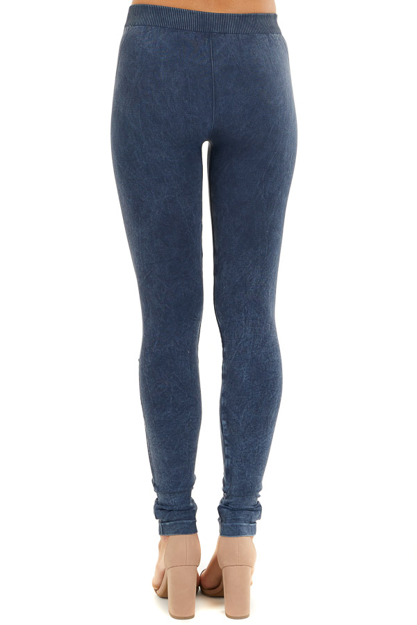 Vintage Denim Leggings with Textured Knee Detail back view