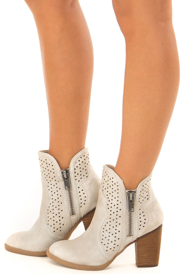 Cream Wooden Heeled Bootie With Cutout Detail and Zippers side view