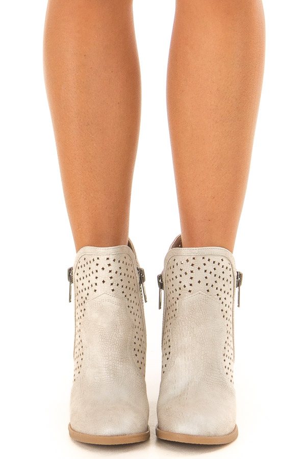 Cream Wooden Heeled Bootie With Cutout Detail and Zippers front view