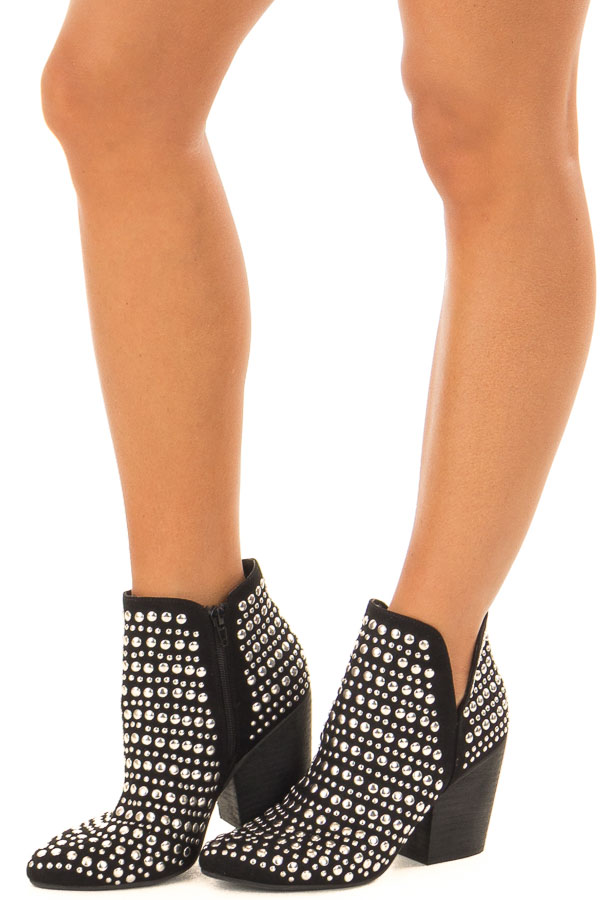Black Silver Studded Bootie with Side Zipper front side view