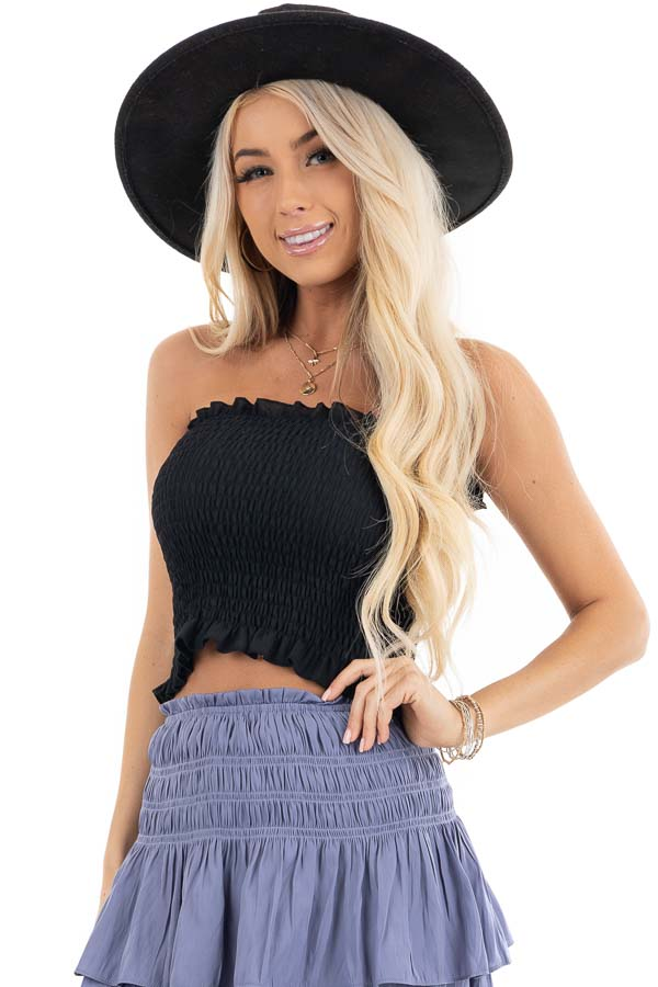 Black Strapless Smocked Bandeau Top with Ruffled Hem front close up