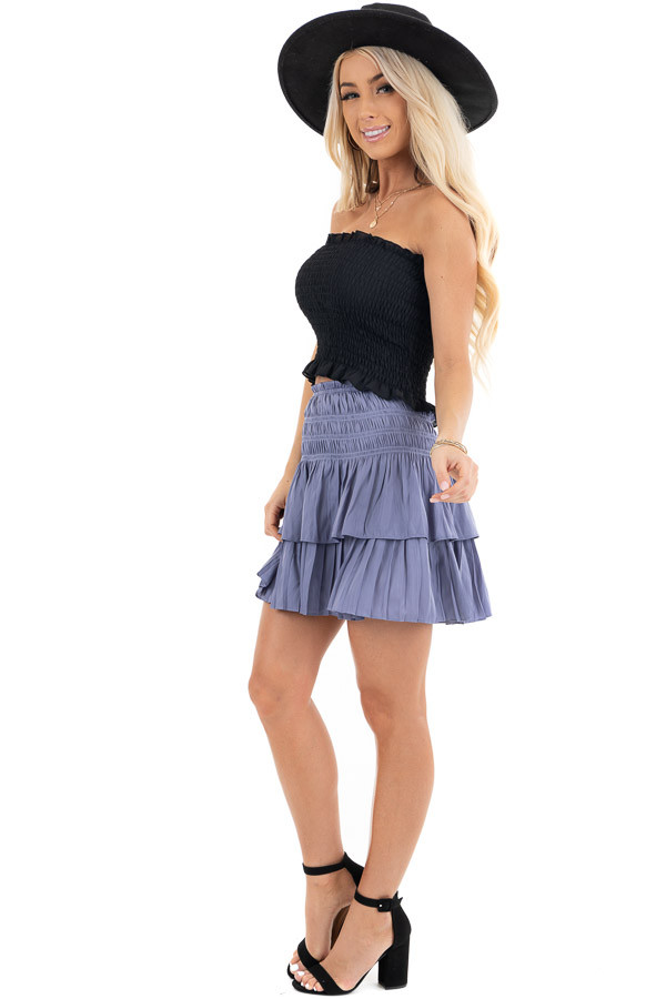 Black Strapless Smocked Bandeau Top with Ruffled Hem side full body