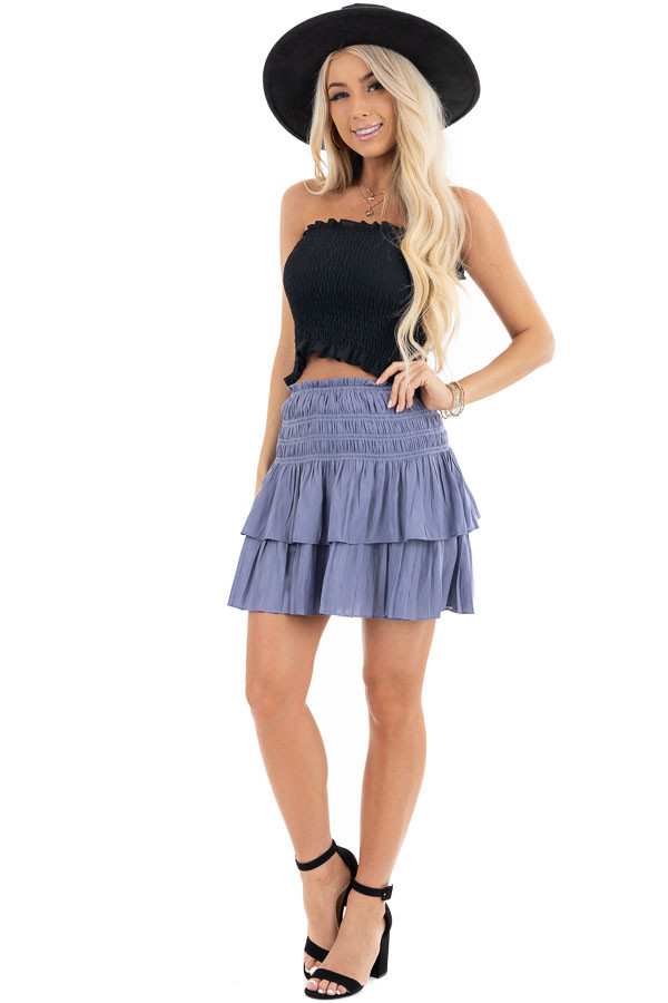 Black Strapless Smocked Bandeau Top with Ruffled Hem front full body