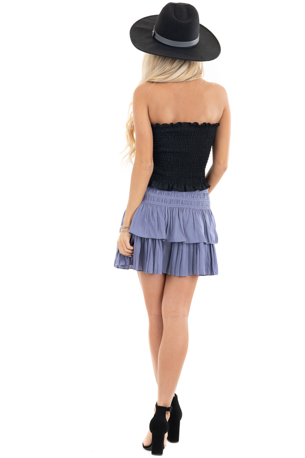 Black Strapless Smocked Bandeau Top with Ruffled Hem back full body
