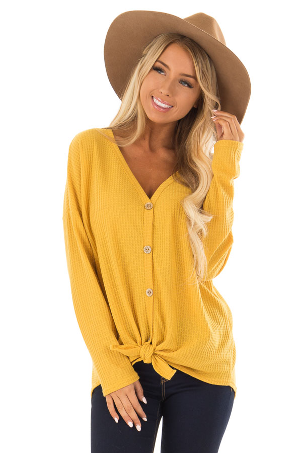 Mustard Thermal Button Up Long Sleeve Top with Front Tie front close up