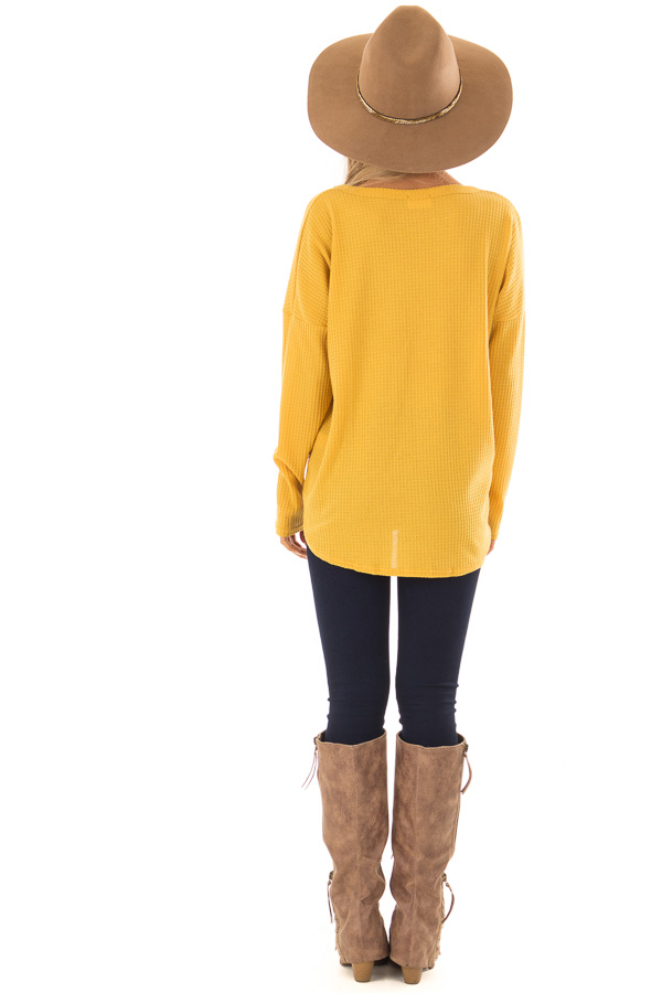 Mustard Thermal Button Up Long Sleeve Top with Front Tie back full body