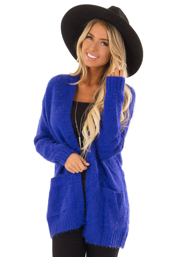 4f6c634db5 Royal Blue Long Sleeve Cardigan with Front Pockets - Lime Lush Boutique