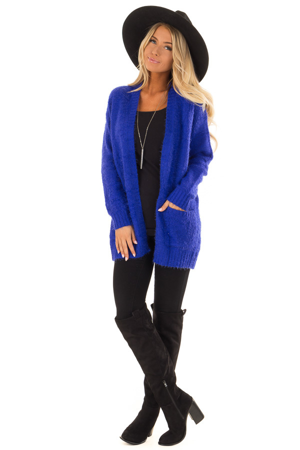 e21542ce22 ... Royal Blue Long Sleeve Cardigan with Front Pockets front full body ...
