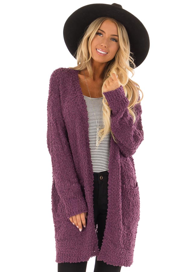 dbfb8e6e1f Eggplant Soft Cardigan with Long Sleeves and Pockets - Lime Lush ...