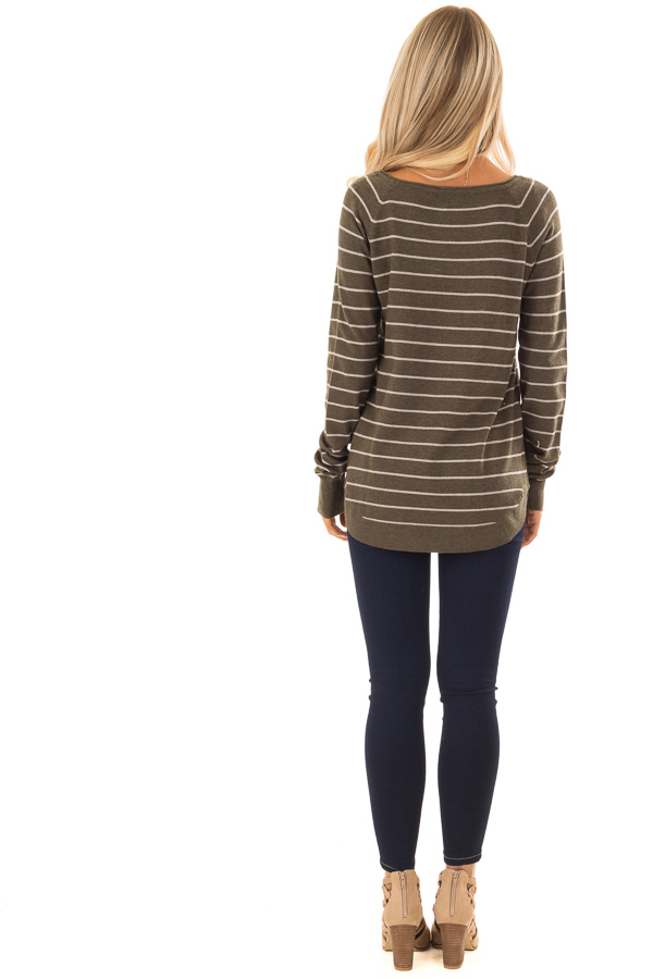 Olive Soft Striped Long Sleeve Top back full body