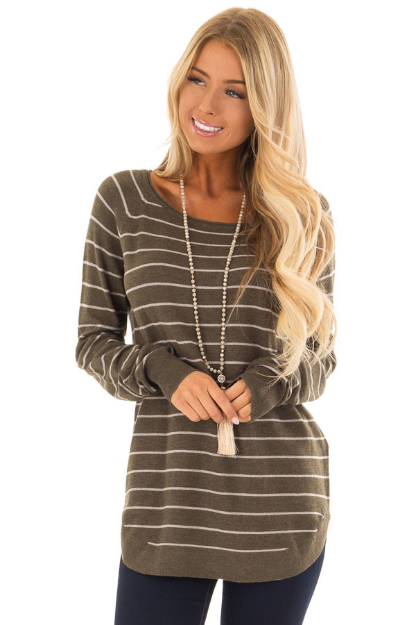 Olive Soft Striped Long Sleeve Top front close up
