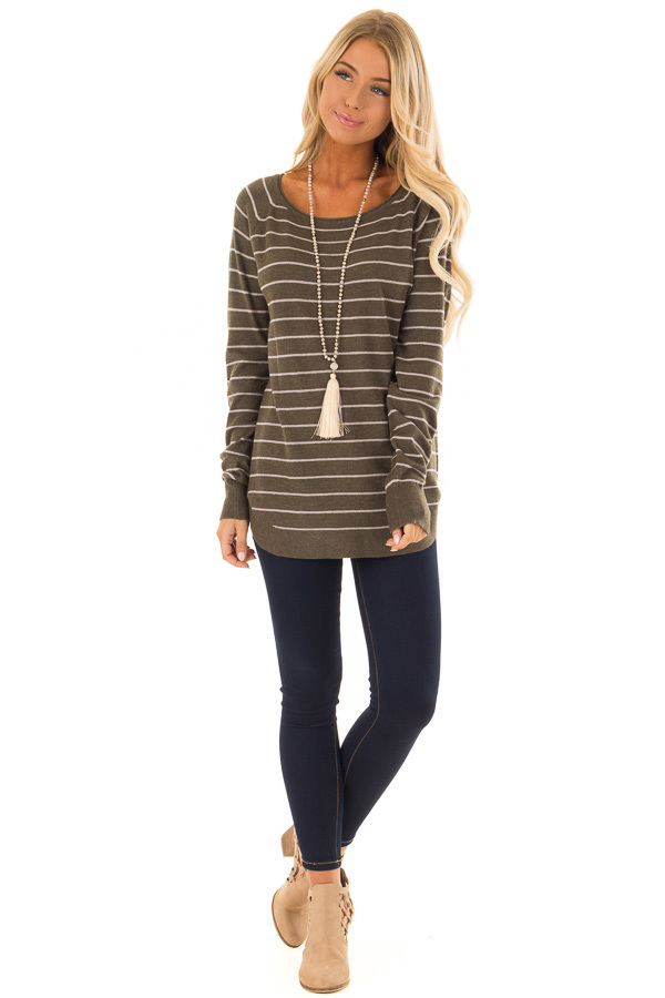 Olive Soft Striped Long Sleeve Top front full body