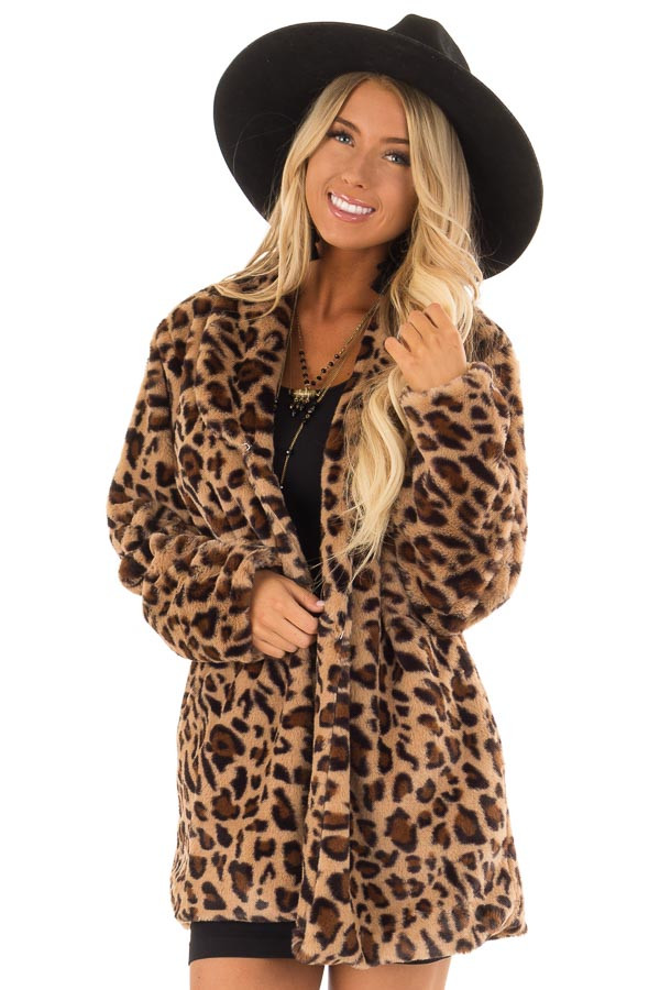 f871013236 Leopard Print Long Sleeve Faux Fur Jacket with Pockets - Lime Lush ...
