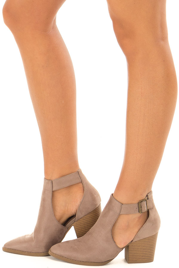 Coffee Faux Suede Heeled Ankle Boots with Side Cutout Detail side view