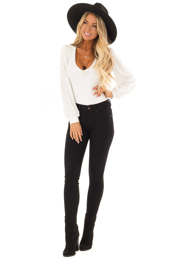 White Long Sleeve Bodysuit with Plunging Neckline front full body