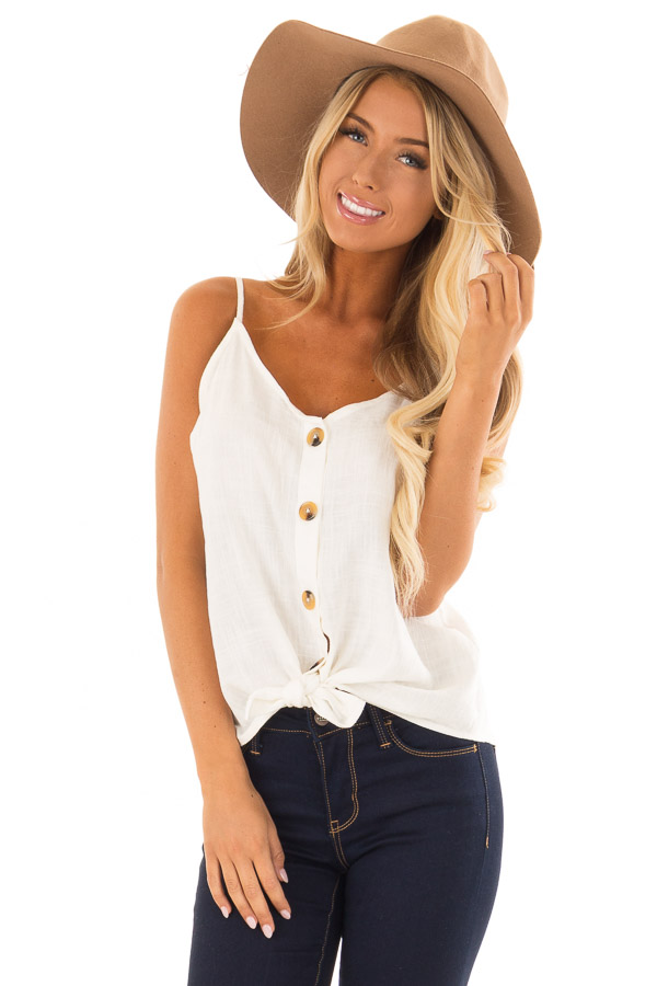 a0033b1a75b Off White Button Up Tank Top with Front Tie Detail - Lime Lush Boutique