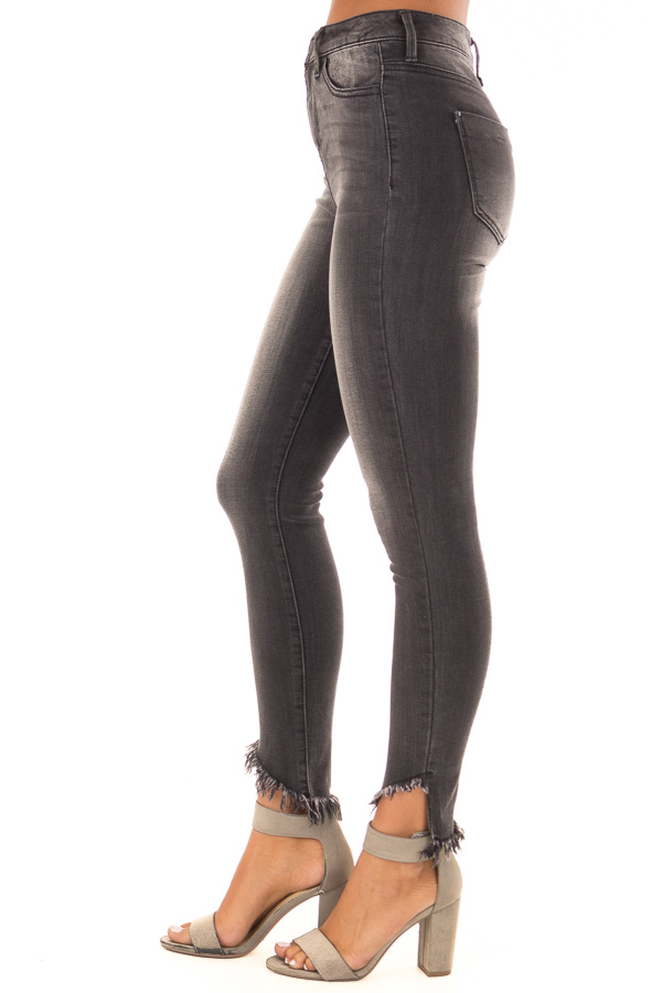 Charcoal High Rise Skinny Jeans with Distressed Ankle Hem side view