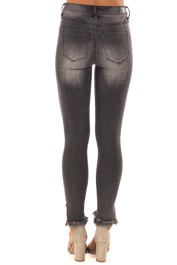 Charcoal High Rise Skinny Jeans with Distressed Ankle Hem back view