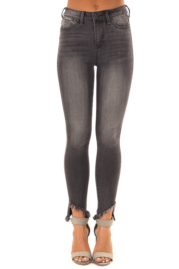 Charcoal High Rise Skinny Jeans with Distressed Ankle Hem front view